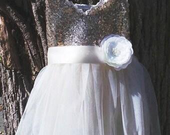 flower girl dress with satin ribbon sash,  gold dress,girl dress,baby dress, tutu dress, birthday dress Ivory dress gold dress toddler dress