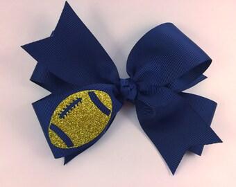 Navy and gold hair bow, football hair bow, fall hair bow