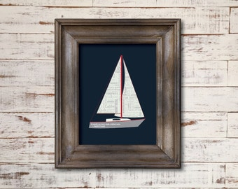 Sailboat / Word Art Typography / Wall Art / Home Decor / Unique Gift / Nautical Man Overboard True North Compass Anchor Bow Stern