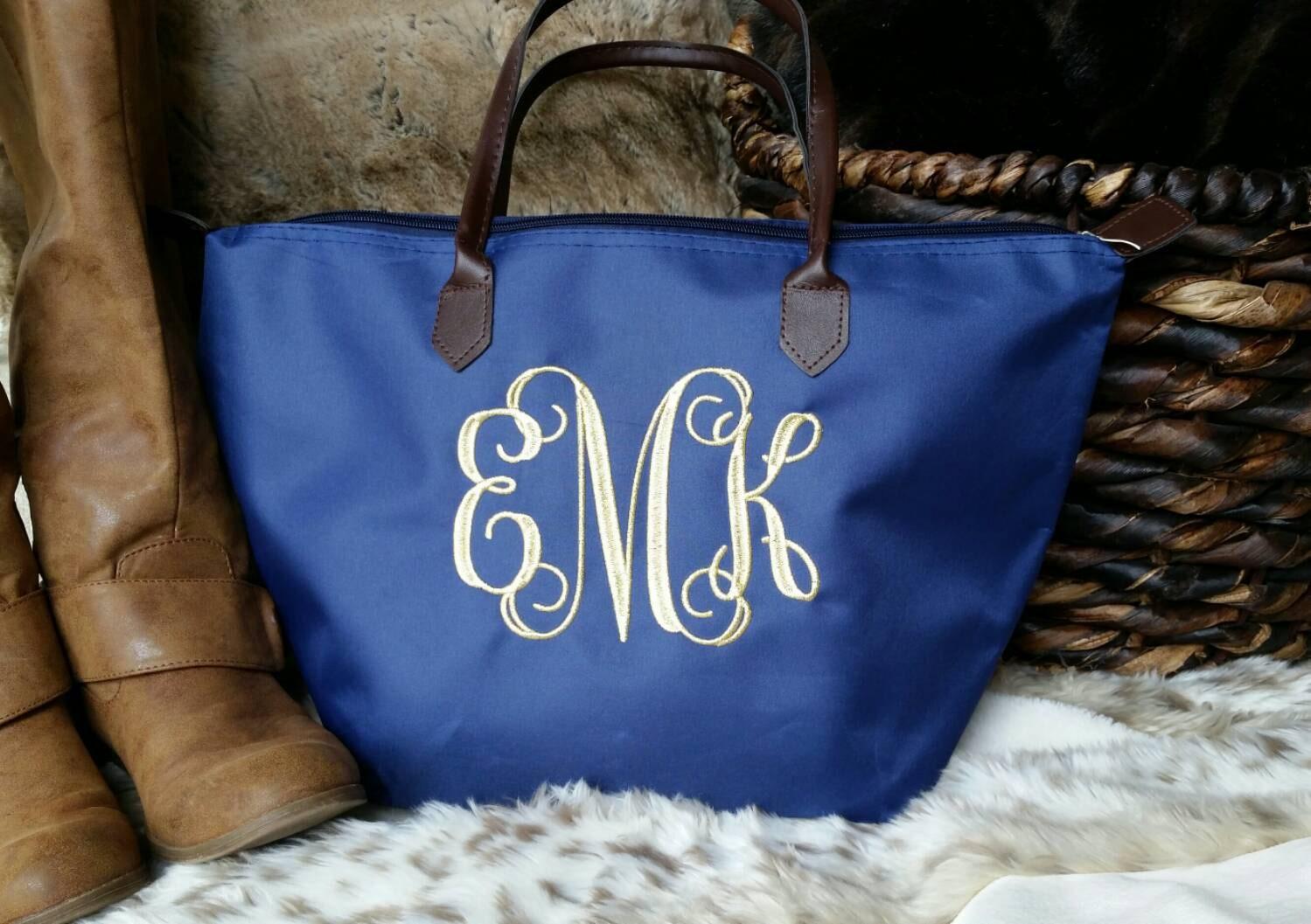 Monogrammed Bag By Thegoldenspindle On Etsy