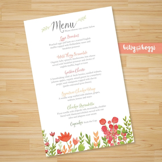 shower menu restaurant menu baby shower baby sprinkle