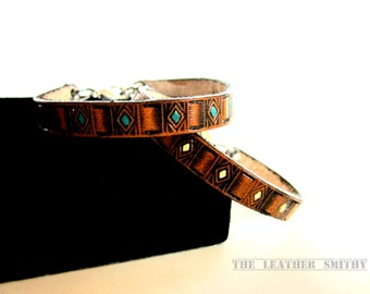 Hand Tooled and Painted Tan Leather Bracelet, Leather Jewelry, Thin Leather Bracelet, Colorful Leather Bracelets