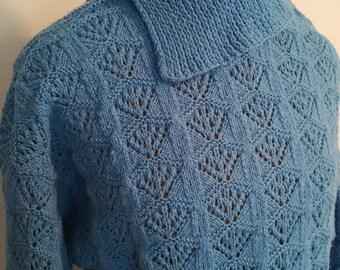 Vintage Cornflower Blue Crochet Sweater with Split Turtleneck Collar
