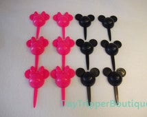 24 MICKEY & MINNIE MOUSE Pink Black Cupcake Ring Picks Favor Supplies Rings Topper Birthday B