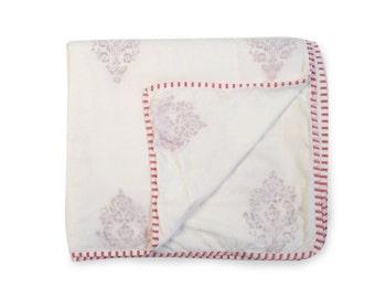 MUGHAL RED Dohars Summer Blanket Handblock Printed Cotton Muslin