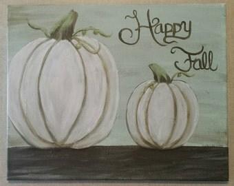 Happy fall white pumpkins acrylic on canvas 16x20