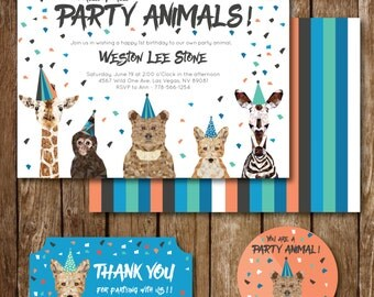 Calling All Party Animals Birthday Invite, Cupcake Topper and Party Favor Thank You