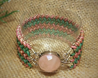 Beautiful Verte Turquoise and Coral ZigZag Cuff Bracelet with Peachy Pink Quartzine Clasp! 7.25L X 1.13W. Trendy! Boxed! Statement!