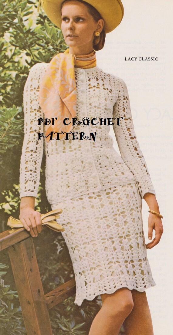 Crochet Ladies Classic Lace Suit Pattern Set Kc0108 Advanced