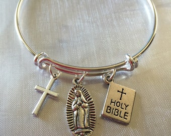 Bracelet with cross, holy bible and Virgin Mary charms