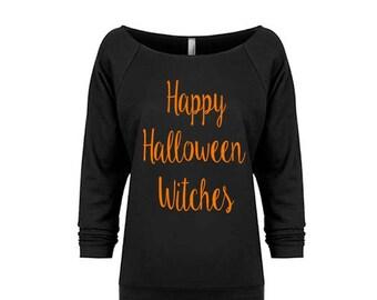 Ladies' Happy Halloween Witches Sweatshirt, Off the Shoulder Raw Edge Sweatshirt, Halloween Costume Women, Halloween Shirt, Halloween Gift