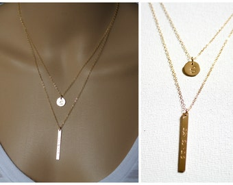 Set of 2 Layering Necklace, Personalized Layered Necklace, Name Necklace Set, Shinny Bar, Vertical Bar, Disc, Sterling Silver or Gold Filled