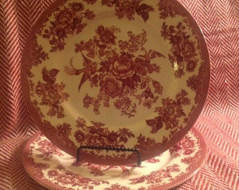"Vintage, 11"" Staffordshire Oriental Pheasant Plates, country, cottage, mismatch, red transferware, formal dining, Christmas"