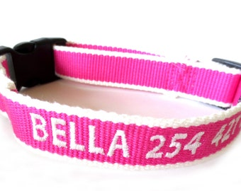 ECO Friendly Personalized Embroidered Dog Collar - Pink and White