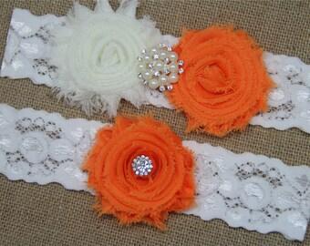 Ivory and Russet orange Wedding Garter,Bridal Garter Set,Keepsake Garter,Toss Garter,Ivory Lace Garter,Ivory Wedding Garter Belt - 415
