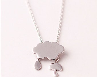 rain drop and an umbrella necklace 925 sterling , silver jewelry necklaces, 925 jewelry