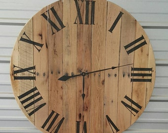 "50"" Reclaimed wood farmhouse   fixer upper style wall clock with natural finish and black roman numerals."