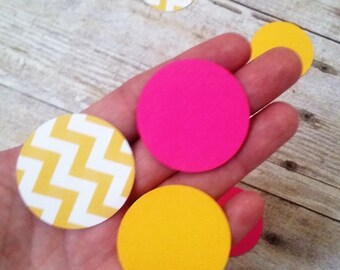 Pink and Yellow Circle Confetti - Die Cuts - Party Supplies - Table Decorations - you are my sunshine