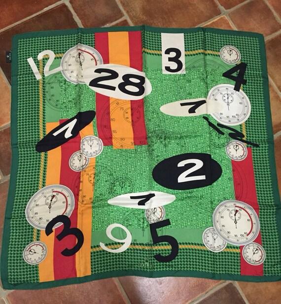 Rolex rare Formula one stopwatch motif silk scarf