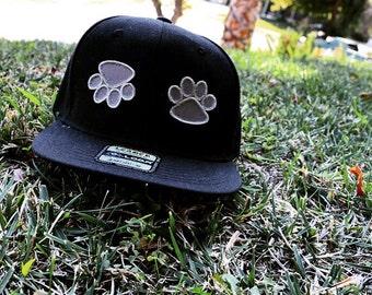 Black Velcro Paw Snapback