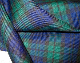 Sale by Yard~Black Watch Tartan Plaid Poly Viscose Fabric~Kilts Skirts Suiting Fabric~Sewing Blue Black Green Black Watch Fabric~@sohoskirts
