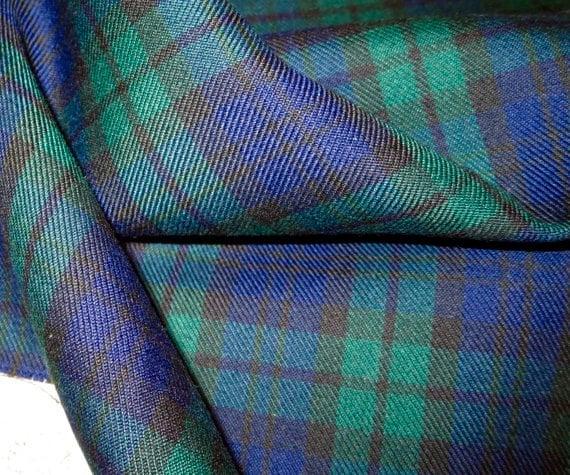 Sale By Yard Black Watch Tartan Plaid Poly Viscose Fabric