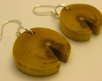 Barberry Wood Earrings Bright Yellow Wood Earrings Eco Friendly Reclaimed Wood Earrings Salvaged Wood 5th Wedding Anniversary Gift