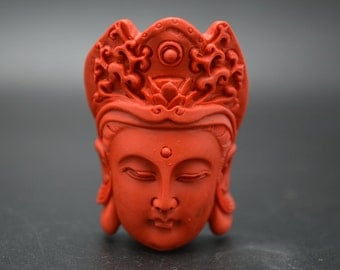 Pure Red Cinnabar Carved Guanyin Buddha Head Stone Pendant Buddhist Jewelry Necklace making Protective talisman / Amulet