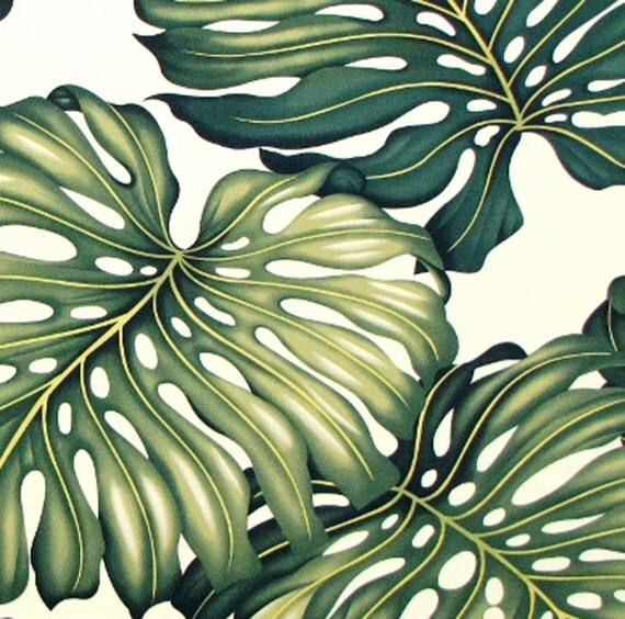 Upholstery Fabric Tropical Hawaiian Fabric Monstera Green