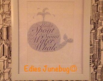 Whale Word Collage Nursery Decor Personalised Art Ocean Wildlife Bathroom Wall Hanging