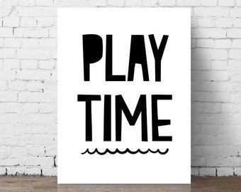 Play Time // Printable Nursery Wall Art / Baby Shower Gift / Black & White Print / Children's Room Decor / Kids Room / Boys Room / Play Room