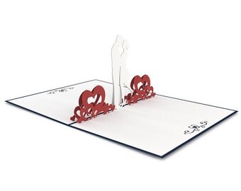 Pop-up card of a couple in love. Perfect for Valentine's Day card, Anniversary card, or Wedding invite, Lovepop.