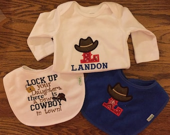 Cowboy Baby Onesie and Bib Set