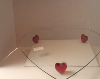 Heart shaped glass platter