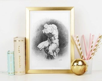 Antique Torso Art Print - Home Decor - Wall Art - Art Print - Fine Art - Drawing