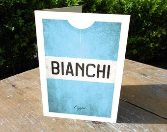 Classic 'grungy' jersey_Bianchi_Greetings card