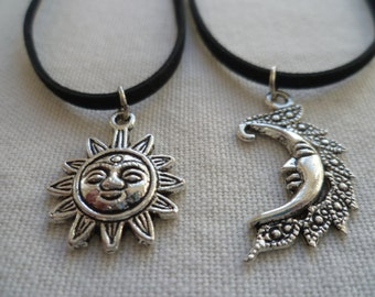 Sun and moon choker set,friendship jewelry,sun choker,moon choker,wiccan jewelry,best friends gift,black choker,choker necklace moon jewelry