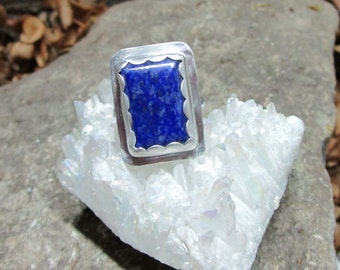 BG-008 ring 925 sterling silver and lapis lazuli free shipping / Free Shipping
