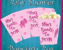 Baby Shower Popcorn Box, Printable Party, It's A Girl Popcorn Box, She's Ready To Pop Popcorn Box, Popcorn Box