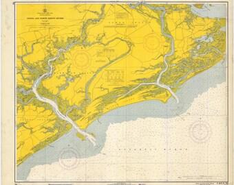 Stono River & North Edisto River - South Carolina Historical Map 1966