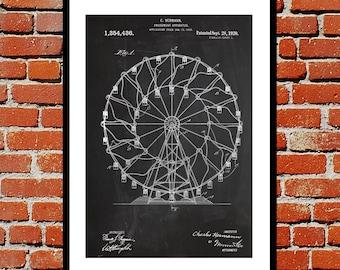 Ferris Wheel Patent, Ferris Wheel Poster, Ferris Wheel Print, Ferris Wheel Art, Ferris Wheel Decor, Ferris Wheel Blueprint