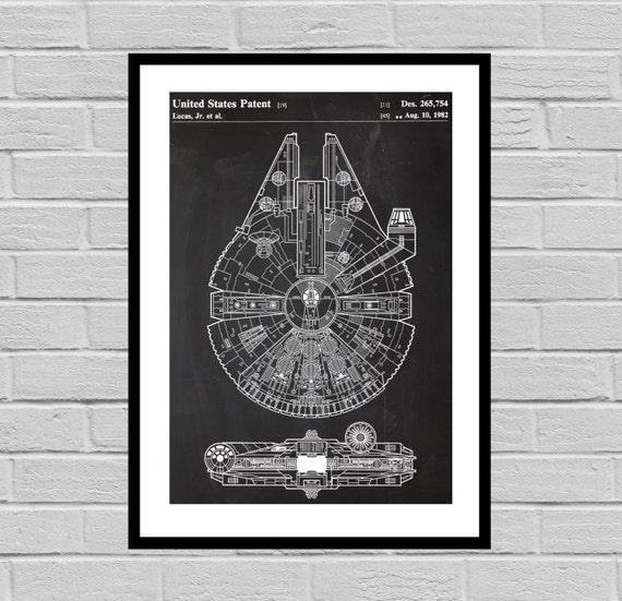 Star Wars Millennium Falcon Star Wars Poster, Millennium Falcon Star Wars de la patente, Halcón Milenario Star Wars impresión, Halcón Milenario