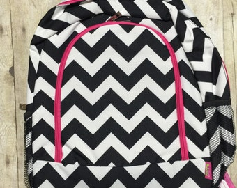 Personalized Black and Pink Chevron Print Book Bag , Monogram Canvas Book bag, Personalized Backpack,  Kids Backpack, Personalized Book bag
