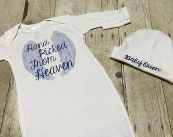 Personalized Hand picked from heaven newborn gown