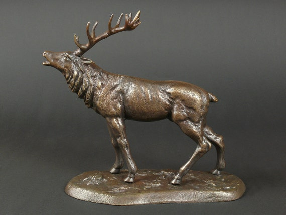 Deer Sculpture. Deer Statue, Deer Sculpture, Desk Decor, Desk Accesories, Table Decor, Brass Statue, Office Statue, Bronze Deer