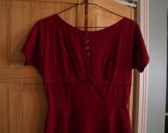 1950s Red Wiggle Dress 1950s Red Day Dress 50s Red Dress sz 4 (small) Cotton Jonathan Logan Vintage