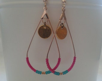 Earrings made with miyuki pink and green