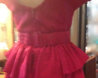 Red Tango Dress, Low Back and Cascading Ruffles