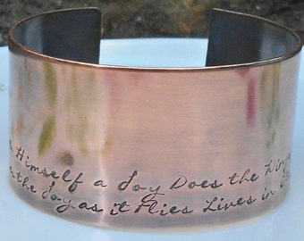 William Blake Stamped Copper Cuff,  William Blake Quote, Lives in Eternity's Sun Rise, English Teacher Gift, Literary Gift, 7th Anniversary.
