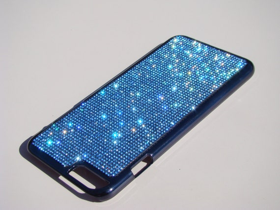 iPhone 6 Plus / 6s Plus Blue Sapphire Rhinestone Crystals on Black Chrome Case Velvet/Silk Pouch Bag Included, Genuine Rangsee Crystal Cases